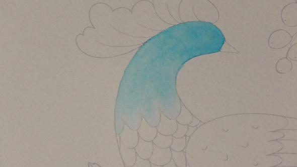 水彩筆ペンの使い方1③単色グラデーションの塗り方1−5-1