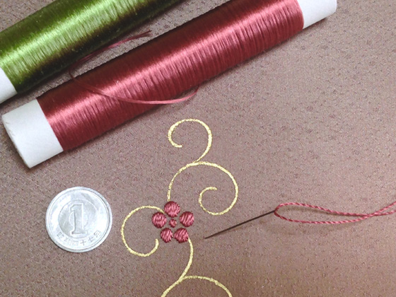 松竹梅刺繍作業