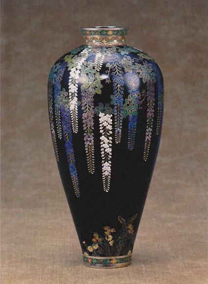 「藤図花瓶」高17.1cm