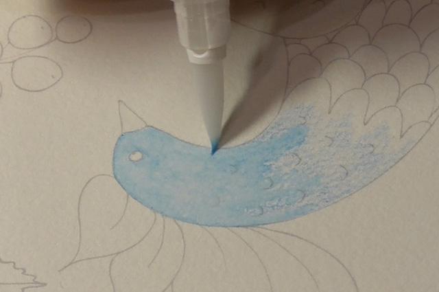 単色グラデ水筆