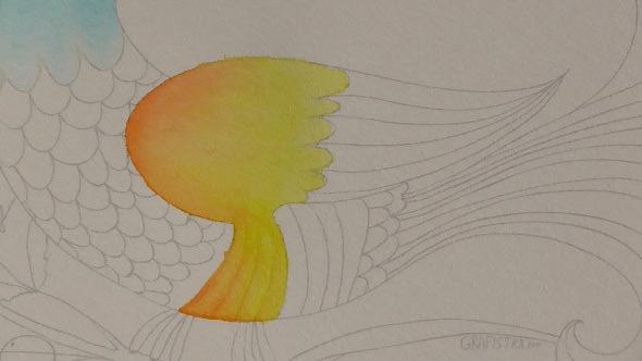 水彩筆ペンの使い方2①2色のグラデーションの塗り方−8-1