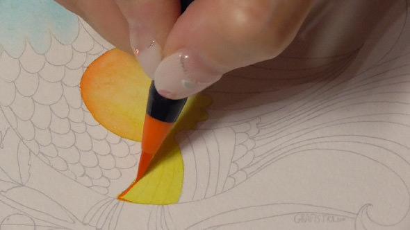 水彩筆ペンの使い方2①2色のグラデーションの塗り方−6-1