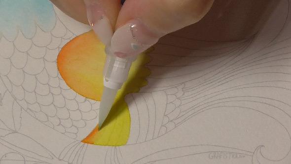 水彩筆ペンの使い方2①2色のグラデーションの塗り方−7-1