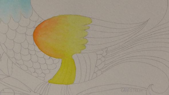 水彩筆ペンの使い方2①2色のグラデーションの塗り方−5-1