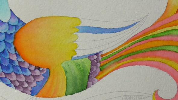 水彩筆ペンの使い方1②単色の塗り方2−4-1