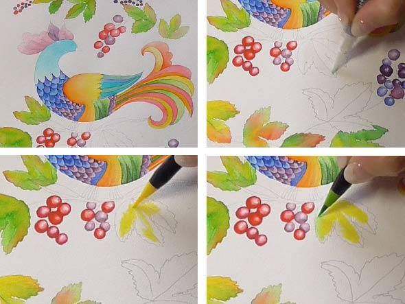 簡単に水彩を楽しめる水彩筆ペンの使い方その2複数の色の塗り方
