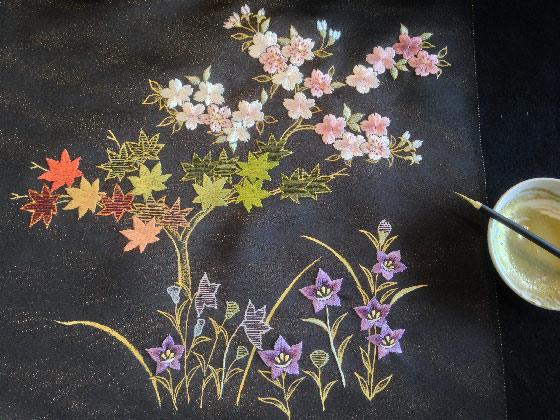桜楓帯金彩